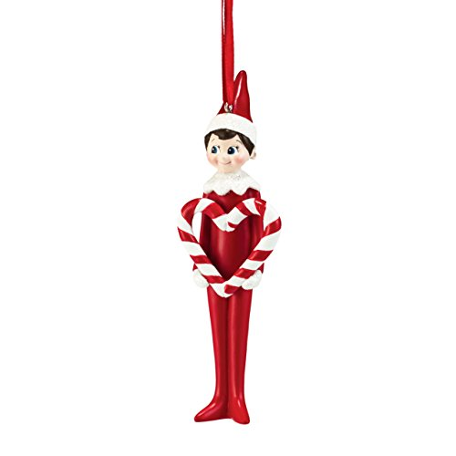 Department 56 Elf on the Shelf Candy Cane Heart Ornament, 5 inch -