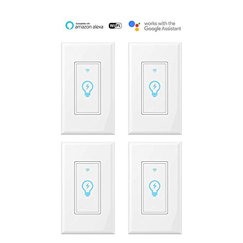 Smart Switch, WiFi Light Switch In-wall Wireless Compatible With Amazon Alexa and Google Home, Timing Function, Overload Protection, Neutral wire require Kuled(Smart switch 4pack)