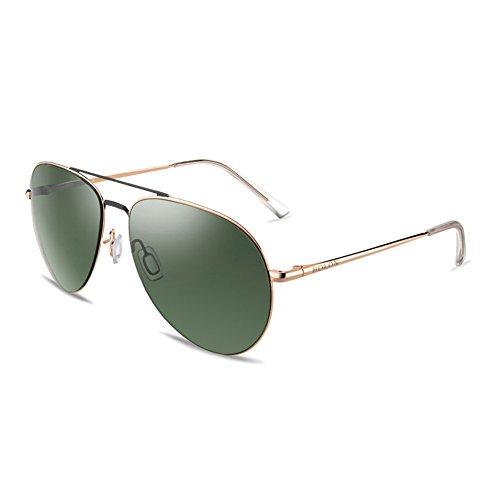 BOLON Womens HD Nylon Polarized Green Lens, Aviator Style Metal Golden - Sunglasses Bolon