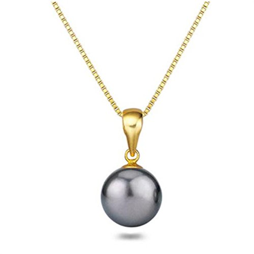 Tahitian Cultured Pearl Pendant Sterling Silver 16 Inch Chain 11.5mm Pendant Necklace for Women (Standard Quality Pearl Tahitian Pendant)