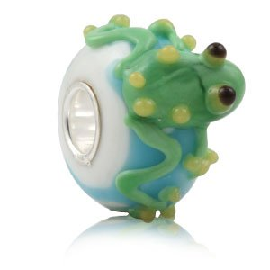 Everbling Frog Murano Glass 3D Bead 925 Sterling Silver Core Bead Fits European Charm (Sterling Silver 3d Frog)