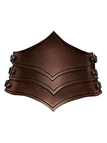 Andracor - Gothic Bodice Belt Made of Armour Leather for Women - Hip Belt with Side Buckles and Wave Optic - for LARP, Viking, Medieval, Steampunk & Cosplay - Brown - L (US 12)