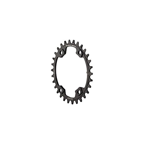 Wolf Tooth Components Drop-Stop Elliptical Chainring: 30T x 96 Asymmetrical BCD, For Shimano XT M8000 Cranks, Black
