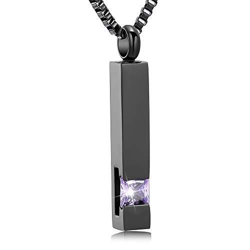 XSMZB Crystal Cremation Urn Jewelry Cube Memorial Ashes Necklace Pendant Keepsake- Black Birthstone Serise(Light Purple)