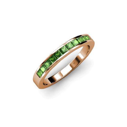 Tsavorite 11 Stone Princess Cut Wedding Band 0.60ct tw in 14K Rose Gold.size (Gold Tsavorite Ring)