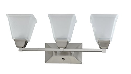 IN HOME 3-Light VANITY/BATHROOM FIXTURE VF37, Brushed Nickel Finish with Satin Etched Glass Shade, UL ()