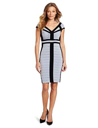 Jax Women's Tucked Jersey Dress, Ice/Black, 6