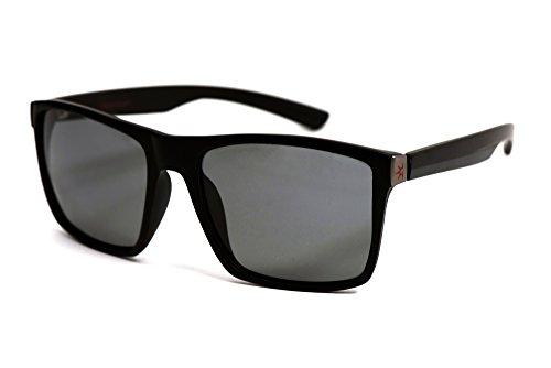 Glare Guard Polarized Sport Sunglasses for Men, Lightweight Black Wayfarer Outdoor Sport Frames, Premium Dark 100% UV Protection for Driving, Fishing, Golf & More. Designed in the ()