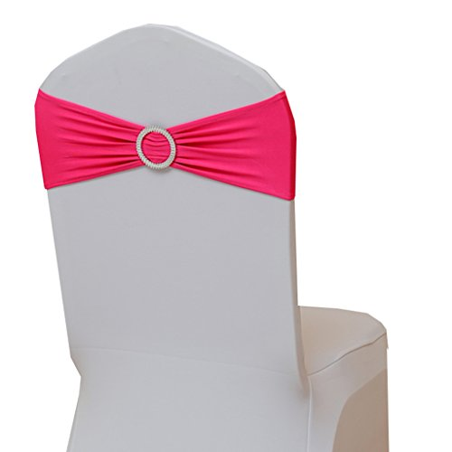 Fvstar 20pcs Fuchsia Wedding Chair Sashes Spandex Chair Cover Ties Bows Party Chair Ribbons for Baby Shower Birthday Banquet Valentines Decorations Without White Covers