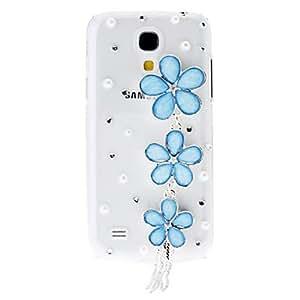 conseguir Rhinestone Patrón transparente dura de nuevo caso con cadenas de flores para Samsung Galaxy S4 Mini I9190 , Blanco