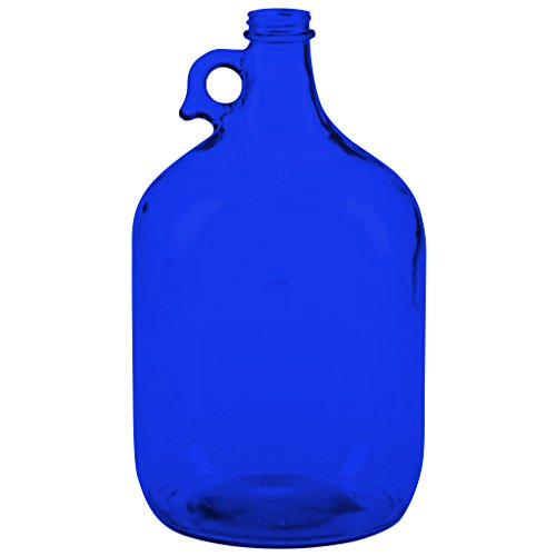 1 Gallon Glass Screw Top Jug with Finger Loop Carrying Handle - Full Color Cobalt Blue - Additional Vibrant Colors Available by TableTop King
