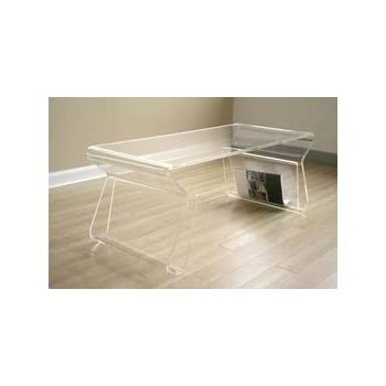Amazon.com: Acrylic Clear Coffee Table with Magazine Rack: Kitchen & Dining
