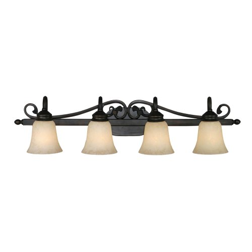 Golden Lighting 4074-4 RBZ 37-Inch W by 9-Inch H by 8-Inch E Belle Meade Four Light Vanity, Rubbed Bronze Finish