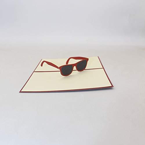 Wooden Frame Sunglasses With New Design, 3d Handmade Red Framed Sunglasses Paper Blessing Greeting Card Postcard - Cartier Wood Frame Sunglasses Gold, Wood Frame Sunglasses, Handmade ()