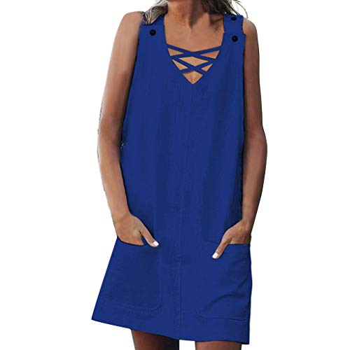 Solid Sleeveless Dresses with Pocket Sales NRUTUP A-Shirt V-Neck Shift Daily Casual Splice Pockets Button Plain Dresses