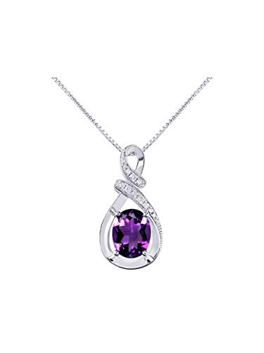 Diamond & Amethyst Pendant Necklace Set in Sterling Silver Stunning Designer 9x7 Colorstone