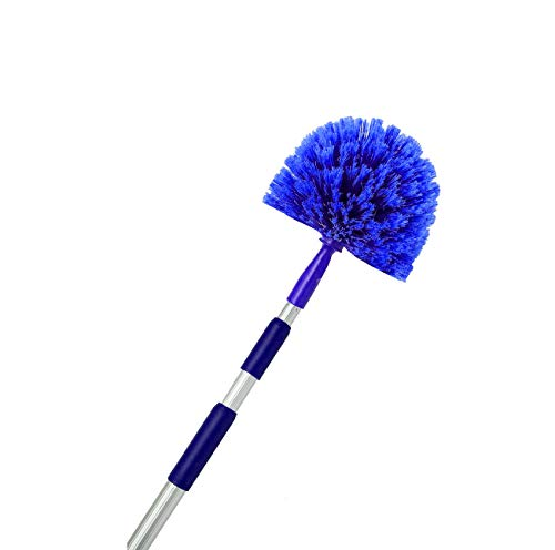 (Cobweb Duster, Extendable Reach 20 feet, Ceiling Fan Duster | 3-Stage Aluminum Telescoping Pole | Medium Stiff Bristles | Long Handle Webster Duster For Cleaning | U.S Duster)