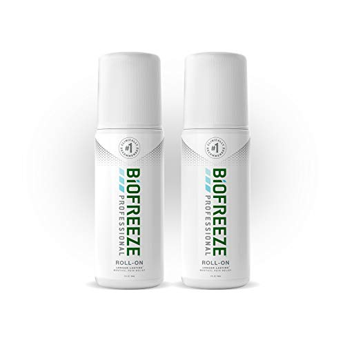 Biofreeze Professional Roll-On Pain Relief Gel, 3 oz. Bottle, Green, Pack of 2