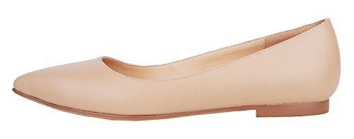 Verocara Women's Classic Pointy Toe Ballet Slip On Flats Comfort Shoes Nude 12 B(M) US
