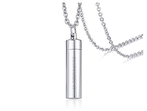 PJ Jewelry Free Engraving Personalized Custom Cylinder Cremation Keepsake Dual-use Ashes Urn Remembrance Necklace
