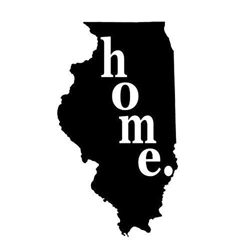 8.8X15.5CM Illinois Home State Originality Vinyl Decal Black/Silver Car Sticker Car-Styling S8-0920 Black ()