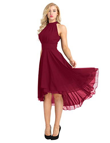 ACSUSS Women's Sleeveless Halter Neck Bridesmaid Dress High Low Evening Prom Flare Dresses Wine Red 16