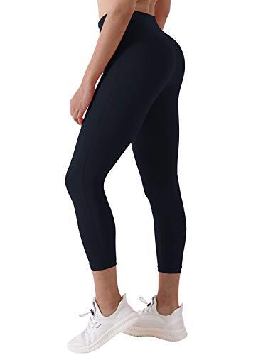 BUBBLELIME Yoga Capris Inner Pocket Running Capris UPF30+ w Single Line Tummy Control 4 Way Stretch
