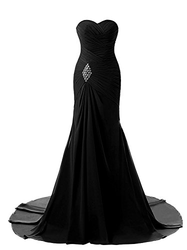 Sweetheart Mermaid Prom Bridesmaid Dresses 2018 Long Formal Evening Ball Gowns FED00302 Black Size10 ()