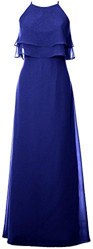 MACloth Elegant Long Bridesmaid Dress Tiered Chiffon Wedding Party Formal Gown Azul Real
