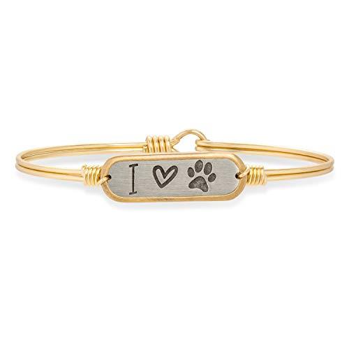 Luca + Danni I Love Paw Print Bangle Bracelet - Petite/Brass Tone (Artist Bracelet Bangle)
