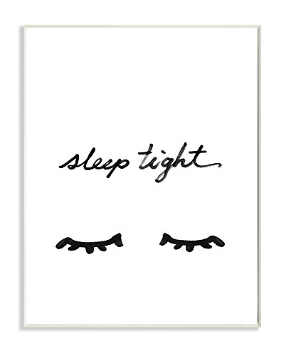 Stupell Home Dcor Sleep Tight Eyelash Minimalist Illustration Wall Plaque Art, 10 x 0.5 x 15, Proudly Made in USA