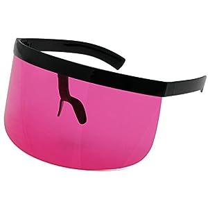 Elite Futuristic Oversize Shield Visor Sunglasses Flat Top Mirrored Mono Lens 172mm (Pink 2, 172)