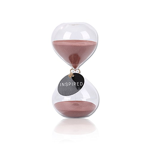 (SWISSELITE Biloba 6 Inch Puff Sand Timer/Hourglass 60 Minutes - Cocoa Color Sand - Inspired Glass/Home, Desk, Office Decor)