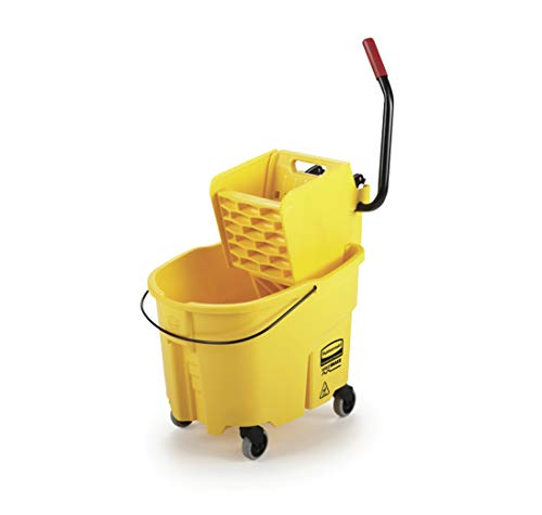 Rubbermaid Commercial WaveBrake Mopping System Bucket and Side-Press Wringer Combo, 35-quart, Yellow (FG758088YEL) - Rubbermaid Wavebrake Bucket