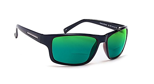 Coyote Eyewear BP-13 Polarized Bi-Focal Reading Sunglasses in Black w/Green Mirror Lens +2.25 by Coyote