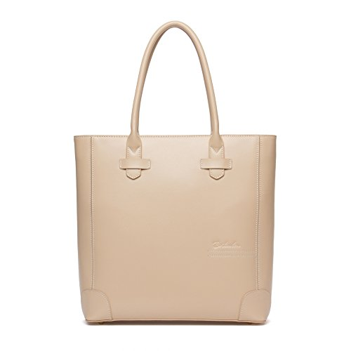 BOSTANTEN Leather Handbags Tote Purses Top-handle Bags for Women On Sale - Apricot Handbag Leather