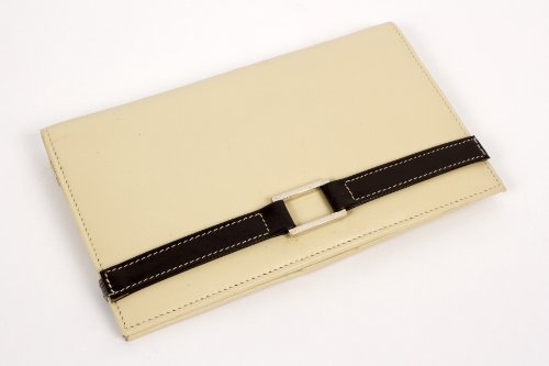 Leather Agenda/Cheque Book Cover (Ivory with Chocolate Accent (Ivory Chocolates)