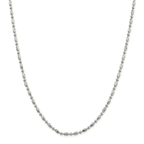 Lex & Lu Sterling Silver 3mm Polished Round & Textured Oval Bead Chain Necklace-Prime ()