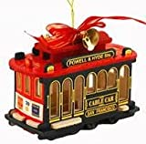 San Francisco Christmas Ornament San Francisco Cable Car 4 Inch Red Green Wood