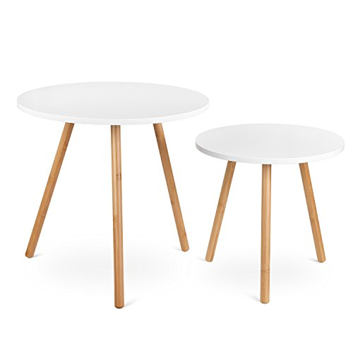 HOMFA Nesting Coffee End Tables Modern Furniture Decor Round Side Table for Living Room Balcony Home and Office White, Set of 2