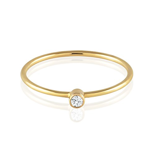 Genuine Diamond Solitaire (BallucciToosi Diamond Ring - Solitaire Stackable Thin Rings for Women and Girls - Round Cut Genuine Diamonds on Tiny 14k Real Gold Band - Small Promise Jewelry - Size 4 to 10)