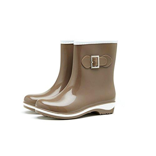 HOTER Latest Fashionable Stylish Glitter Jelly Lady Rain Shoes Skidproof/Waterproof Rainy Day/Garden Work/Outdoor Activities Beige VAdhBkC