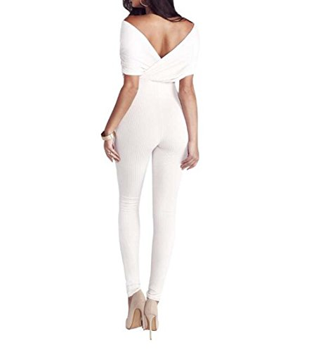 Longueur sans sans Jumpsuit Blanc M XIAOXAIO Partie Skinny Femmes Pleine Taille Couleur Combinaison Mode Pantalon De D't Bretelles Manches xw0nPO