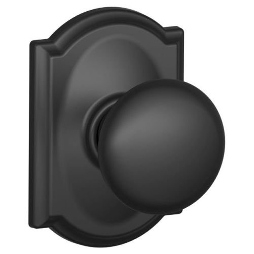 CAM Camelot Collection Plymouth Passage Knob, Matte Black (Schlage Plymouth Passage Knob)
