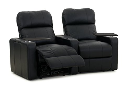 Octane Turbo XL700 Row of 2 Seats, Curved Row in Black Bonded Leather with Manual (Leather Curved 2 Seat)