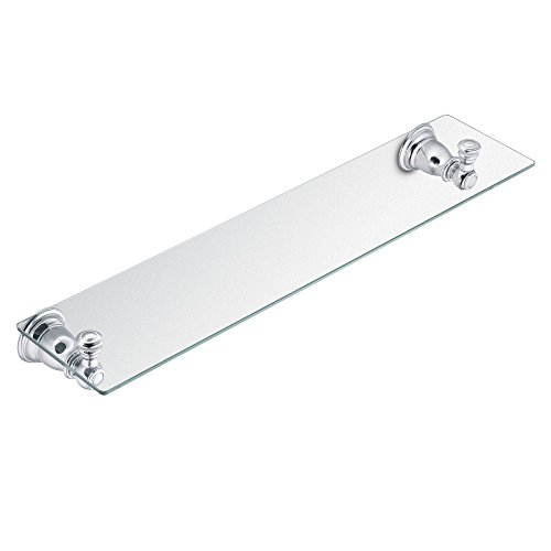 Moen YB5490CH Kingsley 20-Inch W x 5-Inch D Decorative Bathroom Vanity Glass Shelf,, Chrome