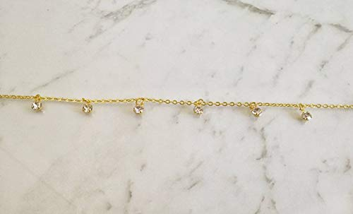 Delicate Jewelry Pure Handmade. Crystal Anklet Dainty Gold Anklet Summer Anklet Gold Crystal Anklet