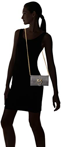 Seta Mujer de Grigio mano With Carteras Gris Corvo Pinko Wallet Vitello Shoulder Aliboni 40X0q6z