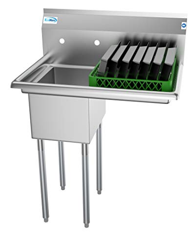 KoolMore 1 Compartment Stainless Steel NSF Commercial Kitchen Prep & Utility Sink with Drainboard - Bowl Size 12