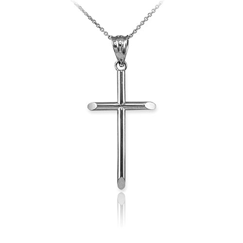 Tube Cross Charm - 14K White Gold Small Tube Cross Baby Charm Necklace (S-1.15